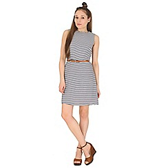 Poppy Lux - Navy talia stripe a-line shift dress