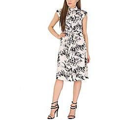 Poppy Lux - White palm leaf print shirt dress