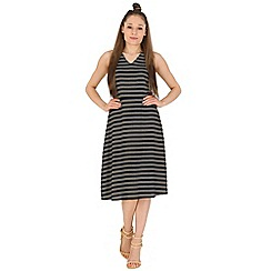 Poppy Lux - Navy stripe knee length dress
