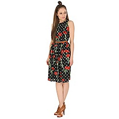 Poppy Lux - Black geneva floral spot midi dress