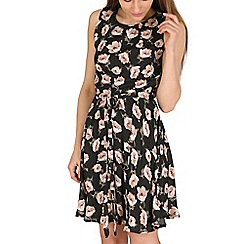 Mela - Black floral fit & flare dress
