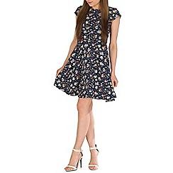 Voulez Vous - Navy polka floral swing dress
