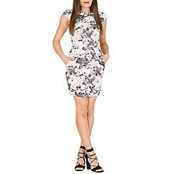 Voulez Vous - Grey floral pleats & pocket dress