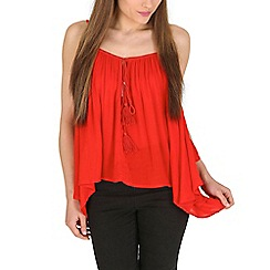Blue Vanilla - Red cold shoulder waterfall frill top