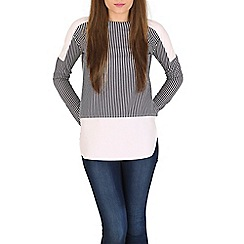 Blue Vanilla - Navy vertical striped panel top
