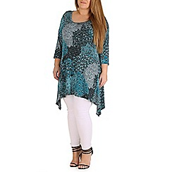 Amy K - Turquoise peacock hanky hem top