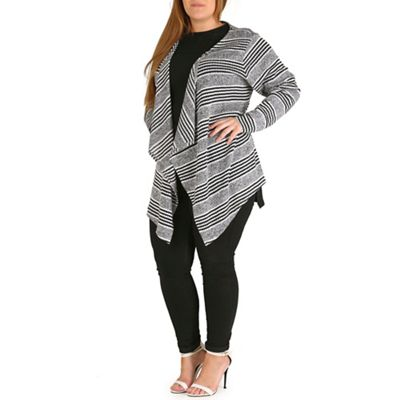 Amy K Black striped waterfall cardigan