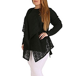 Amy K - Black printed waterfall jacket