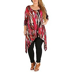 Amy K - Multicoloured print hanky hem top
