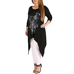 Amy K - Black extreme hanky hem top