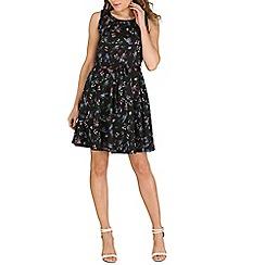 Mela - Black bird print  dress