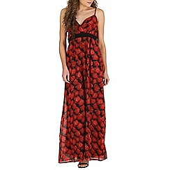 Mela - Black dark rose maxi dress