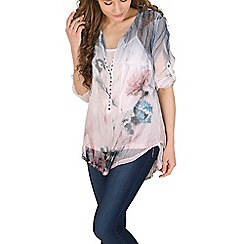 Amaya - Blue floral washed out shirt
