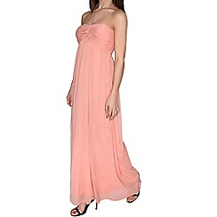 Alice & You - Peach ruched halterneck maxi dress