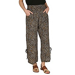 Izabel London - Brown botanical wide-leg trousers