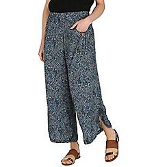 Izabel London - Blue botanical wide-leg trousers