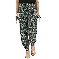 Izabel London - Green shirring waist print trousers