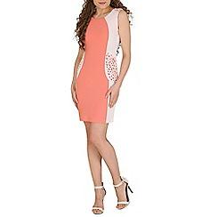 Izabel London - Peach detail shoulder dress