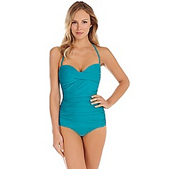 Seaspray - Turquoise draped bandeau swimsuit