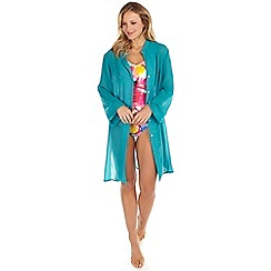 Seaspray - Turquoise chiffon oversized shirt cover up