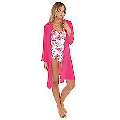 Seaspray - Pink chiffon oversized shirt cover up
