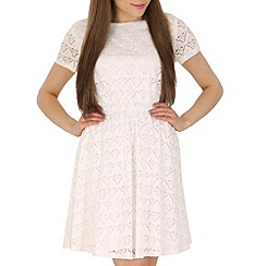 Pussycat London - White baroque mesh babydoll dress