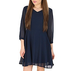 Pussycat London - Navy v-neck detail flare dress