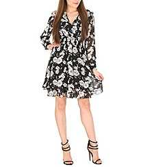 Pussycat London - Black floral cross over dress