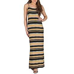 Izabel London - Black strappy striped maxi dress