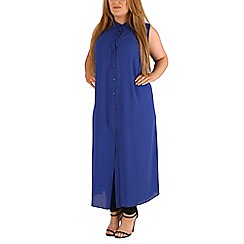 Emily - Blue sheer maxi length shirt dress