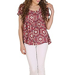 Izabel London - Red tribal printed top