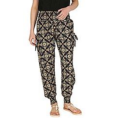 Izabel London - Navy shirring waist print trousers
