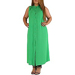 Emily - Green sheer maxi length shirt dress