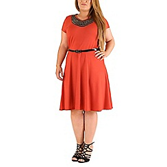 Emily - Dark orange jewelled motif skater dress