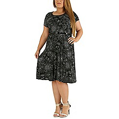 Emily - Black belted print skater dress