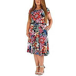 Emily - Multicoloured belted print skater midi dress