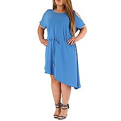 Emily - Blue asymmetric cold shoulder dress