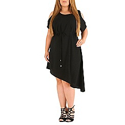 Emily - Black asymmetric cold shoulder dress