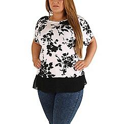 Emily - Cream floral shadow chiffon hem top