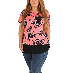 Emily - Peach floral shadow chiffon hem top