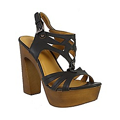 Betsy - Black platform heel with black t-bar strappy upper