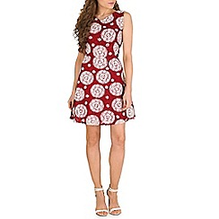 Pussycat London - Red spoonflower print back detail flare dress