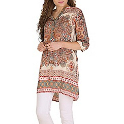 Voulez Vous - Cream button up border patterned tunic
