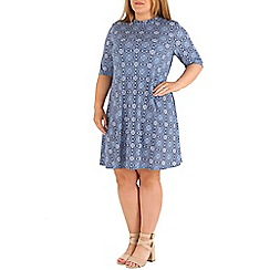 Amy K - Blue tile print roll neck dress