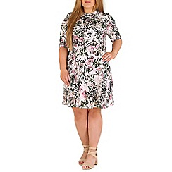 Amy K - Cream floral roll neck dress