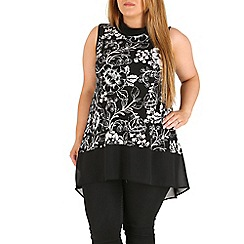 Amy K - Black print contrast tube neck top
