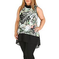 Amy K - Green print contrast tube neck top