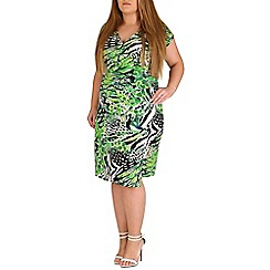 Samya - Green printed wrap dress
