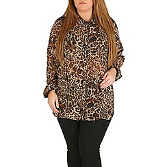 Samya - Brown animal print shoulder detail shirt top