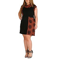 Samya - Black plus size contrast panel tunic dress